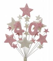 Number age 40th birthday cake topper decoration in pale pink and white - free postage